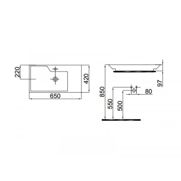Умывальник 65 см IDEVIT Lara 0201-4655