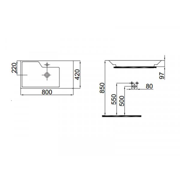 Умывальник 80 см IDEVIT Lara 0201-2805