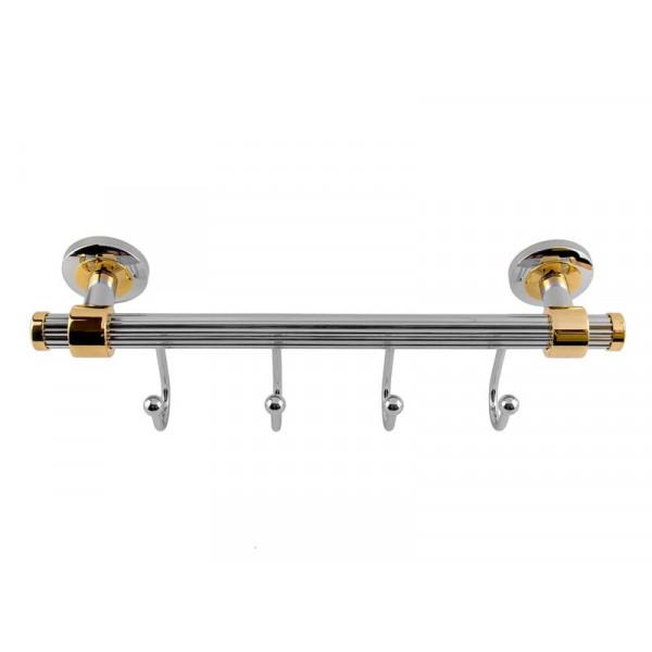 Планка с 4-мя крючками, хром-золото KUGU Maximus 610-4C&G