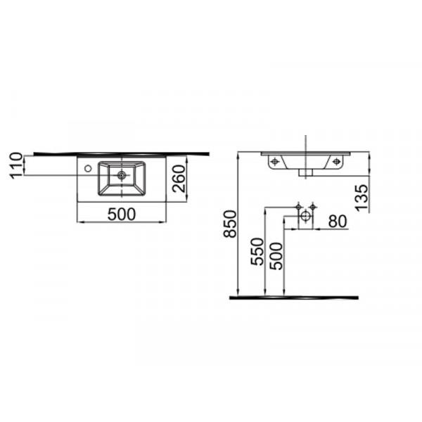 Умывальник 50 см отверстие слева IDEVIT Merkur 0201-3507