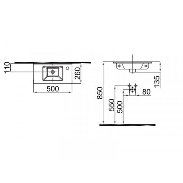 Умывальник 50 см отверстие справа IDEVIT Merkur 0201-3505