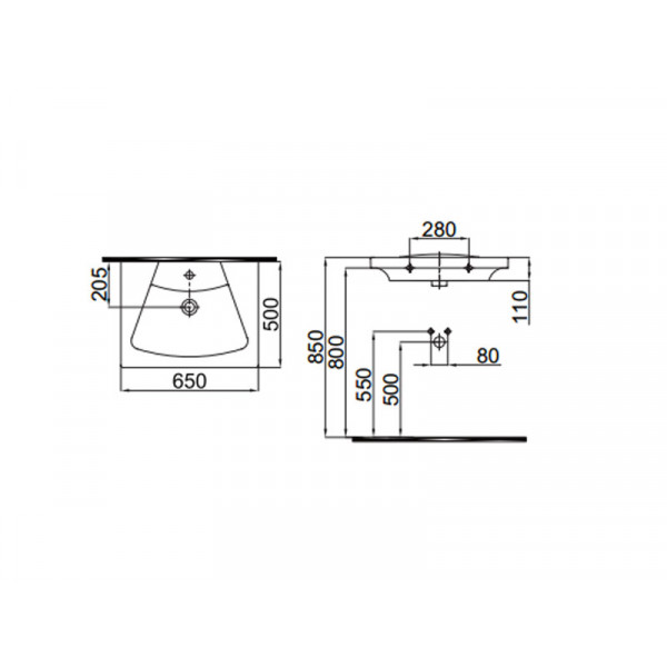 Умывальник 65 см IDEVIT Vega 2801-0505-07, черный