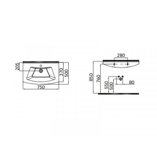 Умывальник 75 см IDEVIT Vega 2801-0755
