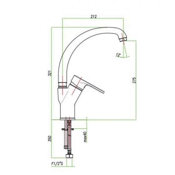 Смеситель для кухни Santan KYMA 75CR4318 с боковой ручкой