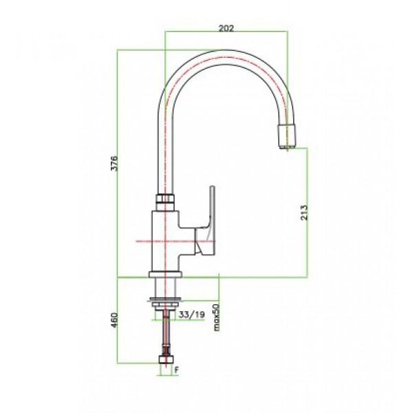 Смеситель для кухни Santan KYMA 75CR5480 с высоким гусаком