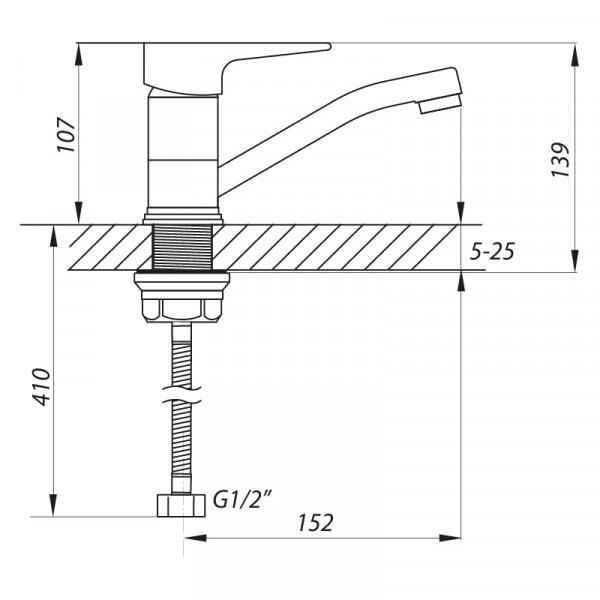 Смеситель для кухни ZERIX SOP4-B 045 (ZX3059)