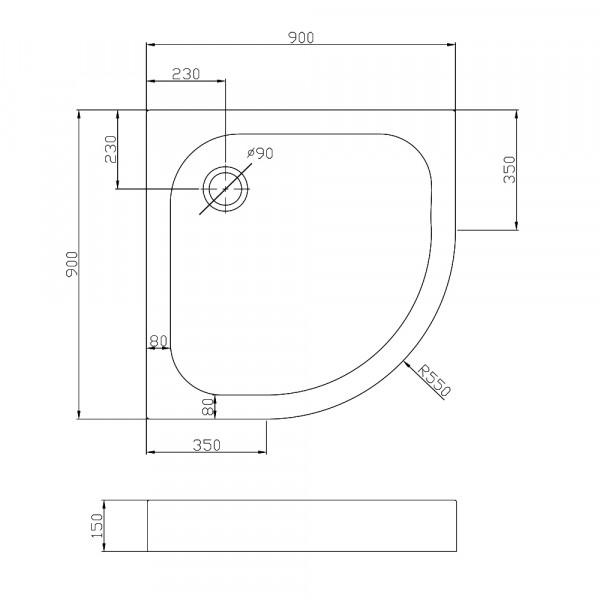 Полукруглый акриловый поддон 90х90 Eger Balaton 599-507/2-15
