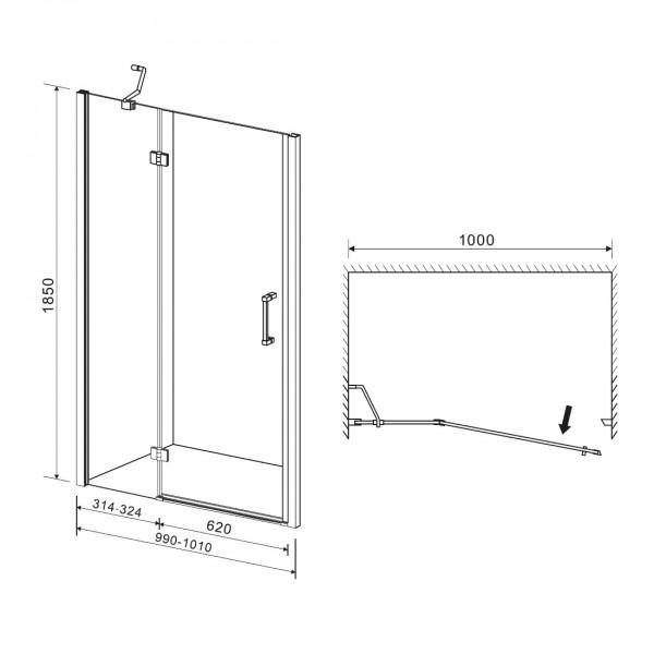 Дверь в нишу распашная на петлях 100х195 Eger 599-701(h)