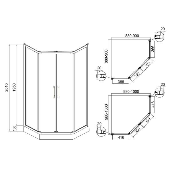 Душевая кабина 90x90x211 Eger Iris 599-142