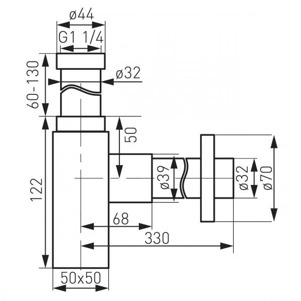 Cифон бутылочный Quadro, хром Ferro S280