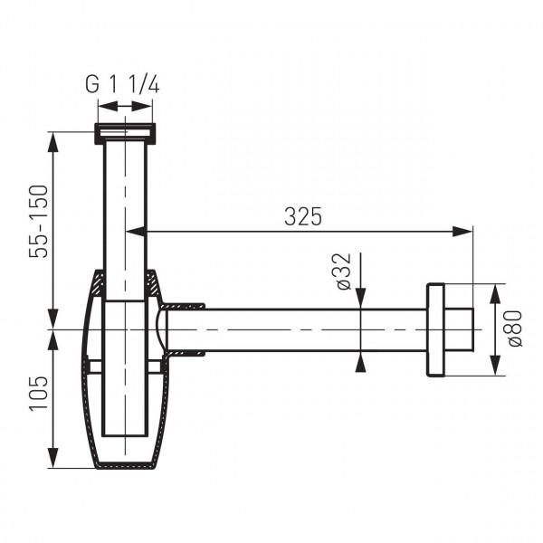Cифон овальный, хром Ferro S286