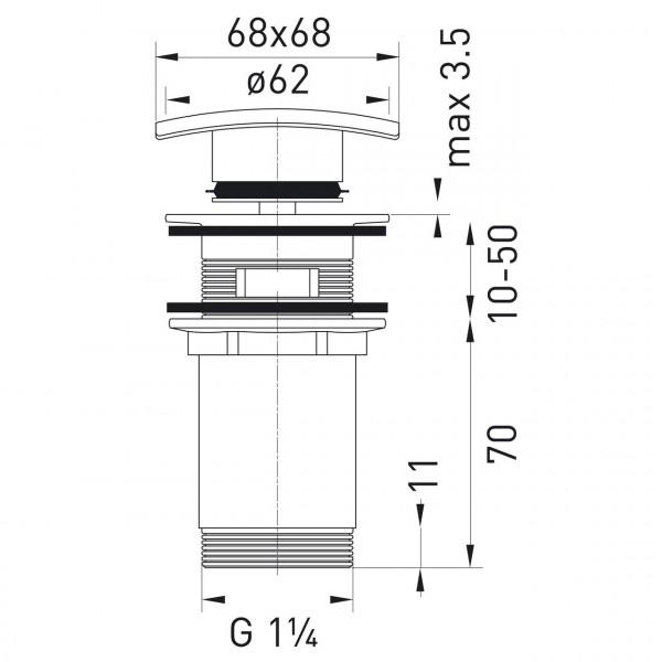 Донный клапан закрывающийся G 1 1/4 Ferro Quadro S284