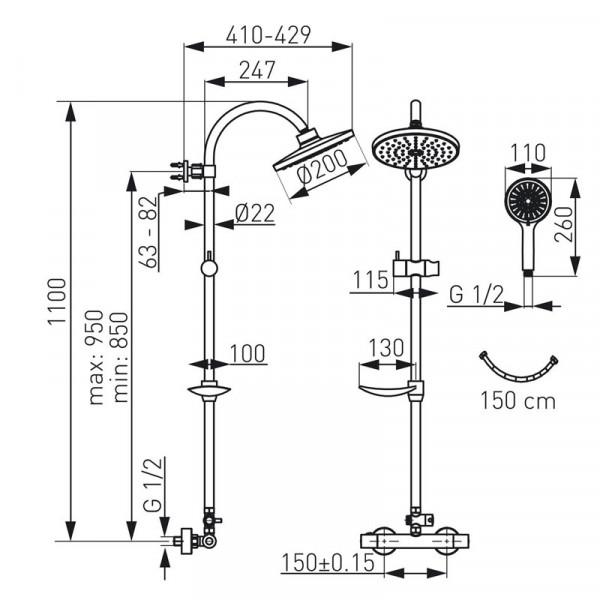 Душевая система с термостатом Ferro Trinity NP71-TRM7U