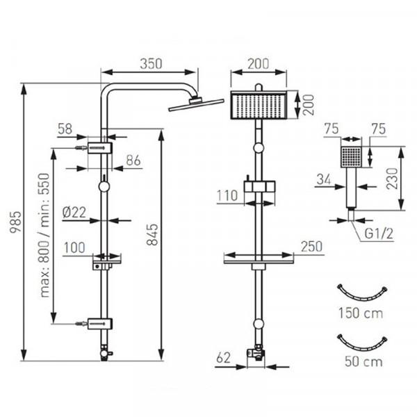 Душевой набор с верхним душем Ferro Squerto Lux NP24