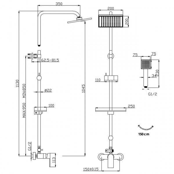 Комплект с верхним душем и смесителем ALGEO Square Ferro NP74-BAQ7U