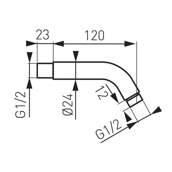 Кронштейн для верхнего душа, 120 мм. Ferro RN12