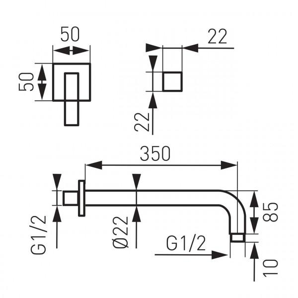 Кронштейн для верхнего душа, 350 мм. Quadro Ferro RN35K
