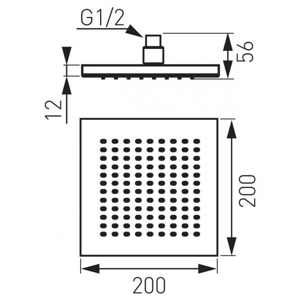 Лейка под потолок, квадратная 200 * 200 Ferro DSN02