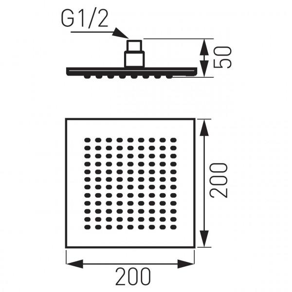 Лейка под потолок, квадратная 200 * 200 Ferro DSN04
