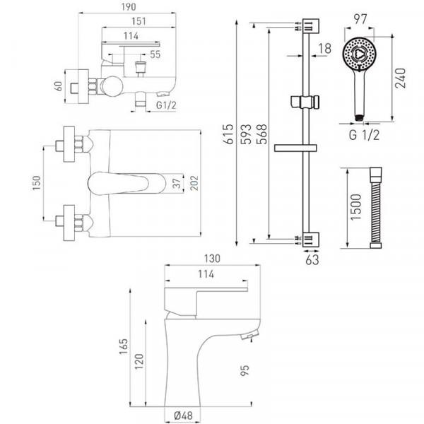 Набор смесителей для ванны 3 в 1 BAG2+BAG1+N340 Ferro Algeo