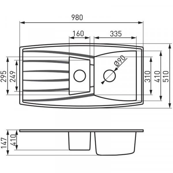 Граниткая мойка на две чаши 98x51 см Ferro Mezzo DRG51/98W