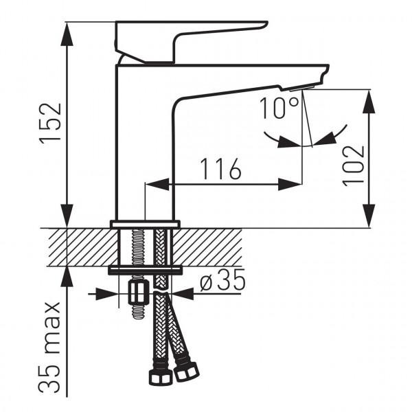 Смеситель ADORE для умывальника консольный черный Ferro BDR2BLC