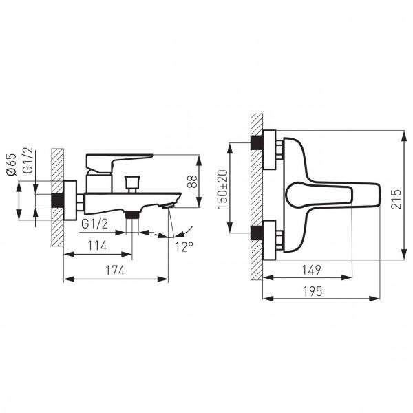 Смеситель ADORE для ванны настенный Ferro BDR1