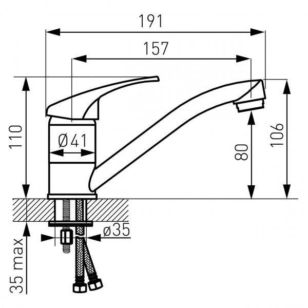 Смеситель BASIC, раковина, хром Ferro BBC2A