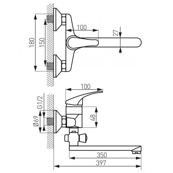 Смеситель BASIC, ванная хром, настенный Ferro BBC5A