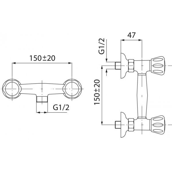 Смеситель для душа двухвентильный Ferro Standart BST77