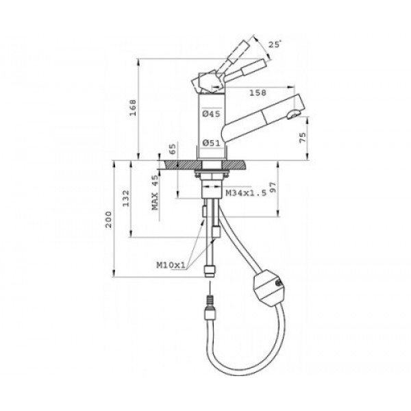 Смеситель для кухни c выдвижным изливом Ferro Asti BAS8