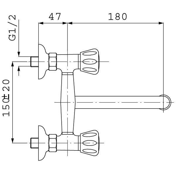Смеситель для кухни двухвентильный настенный Ferro Standart BST5
