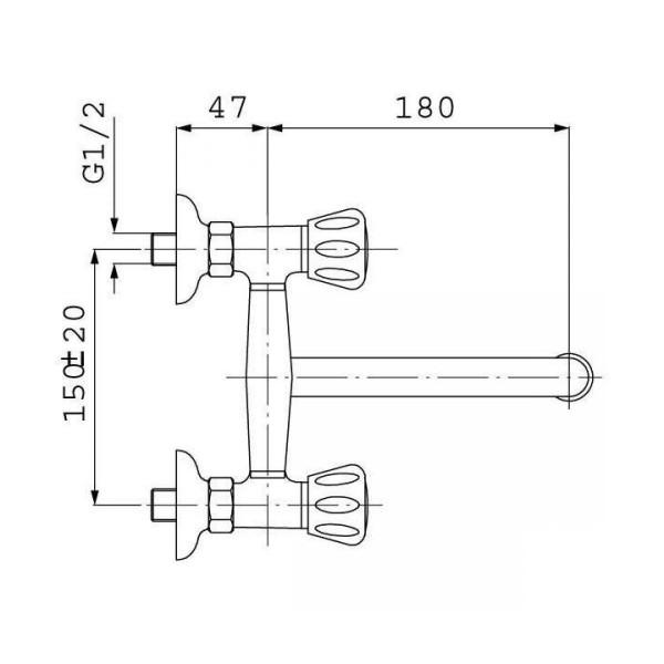 Смеситель для кухни двухвентильный настенный Ferro Standart New BSTC5