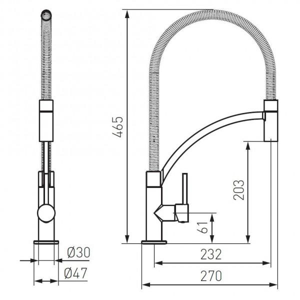Смеситель для мойки консольный с выдвижным душем Ferro Maestro BMS4