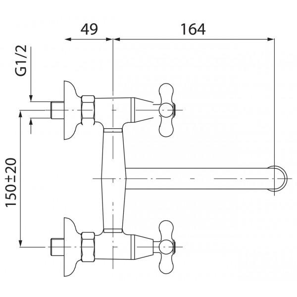 Смеситель для раковины двухвентильный настенный Ferro Retro New XD3