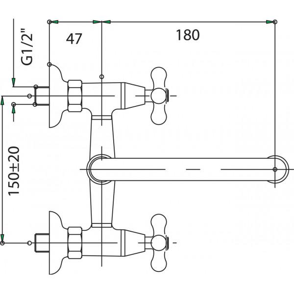 Смеситель для раковины двухвентильный настенный Ferro Retro XR3