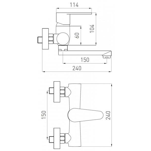 Смеситель для раковины настенный Ferro Algeo BAG3