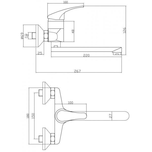 Смеситель для раковины настенный Ferro Basic BBC5