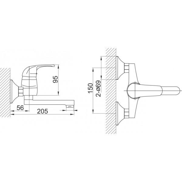 Смеситель для раковины настенный Ferro Vasto BVA3