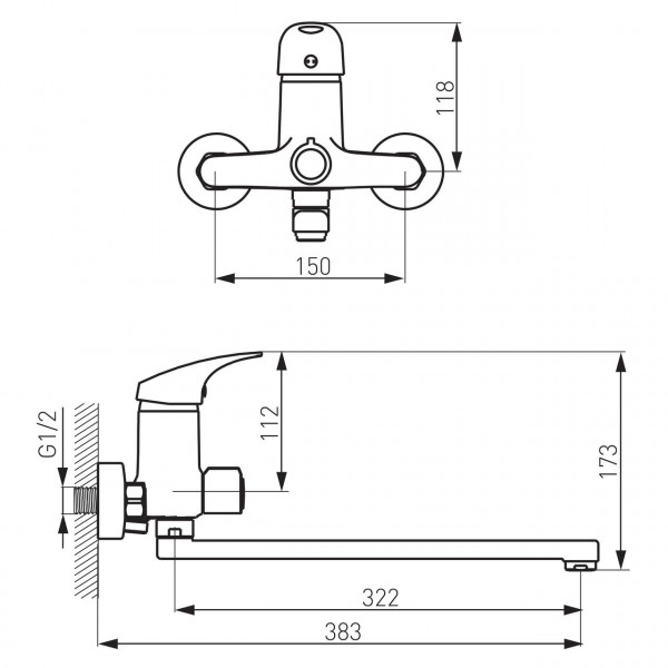 Смеситель для ванны длинный излив Ferro One BFO5A