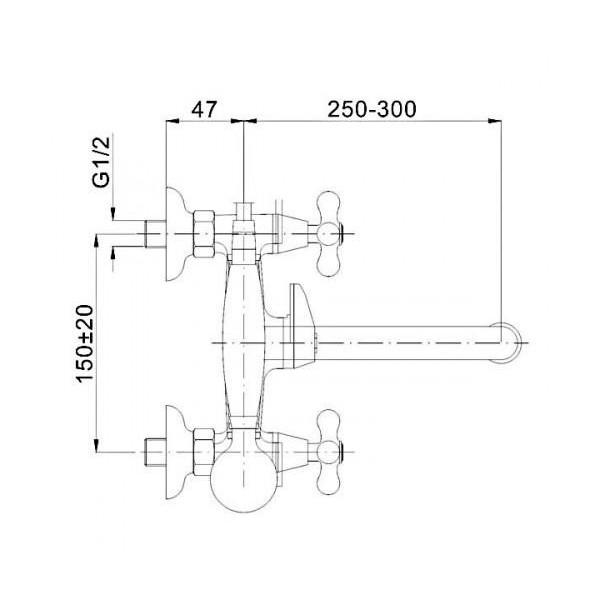 Смеситель для ванны двухвентильный с длинным изливом Ferro Retro XR11AG