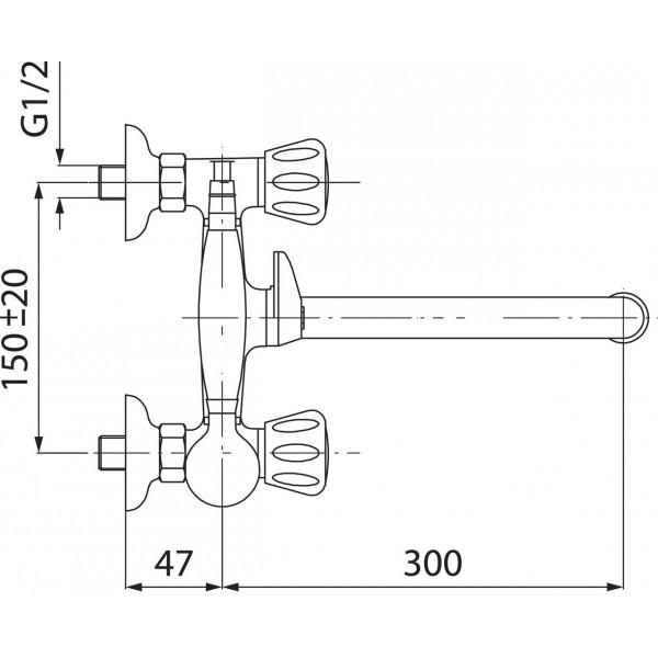 Смеситель для ванны двухвентильный с длинным изливом Ferro Standart BST11A
