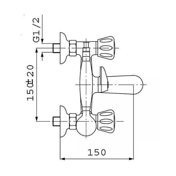 Смеситель для ванны двухвентильный с душевым гарнитуром Ferro Standart New BSTC11