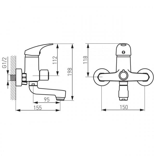 Смеситель ONE для ванны 155 мм Ferro BFO1A