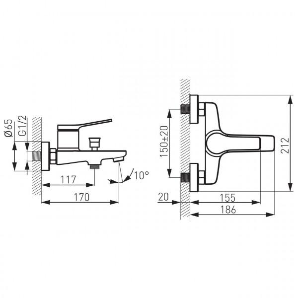 Смеситель STRATOS для ванны настенный Ferro BSC1