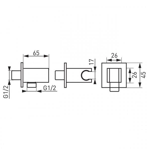 Угловое соединение для душевого шланга Ferro PKN05