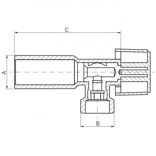 Угловой кран с металлической ручкой 1/2x3/4 Ferro Z1234K