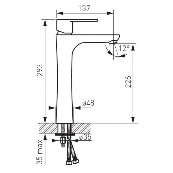 Высокий смеситель для раковины Ferro Algeo BAG2L