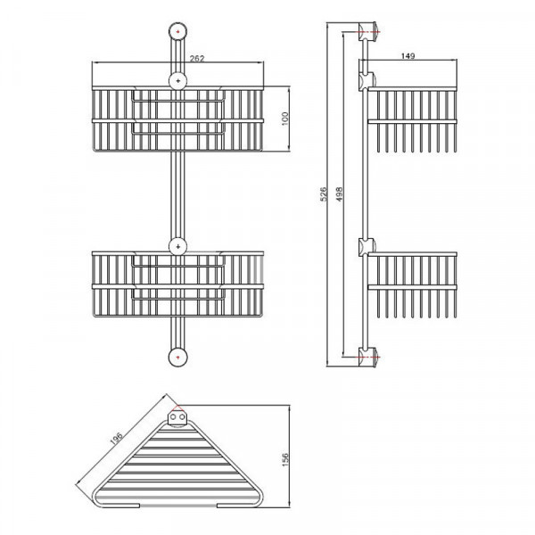 Полка в ванную угловая Andex Classic 042/K2/CC