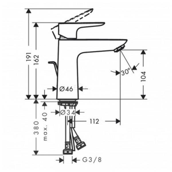 Смеситель для раковины, белый матовый Hansgrohe Talis E 71710700